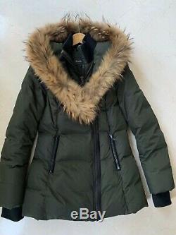 MACKAGE Green Down Coat Long Jacket Fur Trim Hood Size M- excellent condition