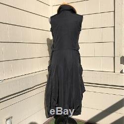 MARITHE FRANCOIS GIRBAUD Long Insulated Jacket Coat Hood Black Size 27 Small