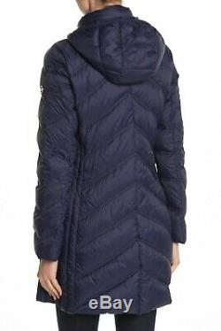 MICHAEL KORS Womens Missy 3/4 Hooded Quilted Down Puffer Coat Jacket Blue Size L