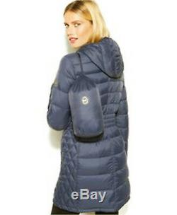 MICHAEL Kors Plus Size Quilted Packable Down Puffer Long Coat Dark Blue 1X