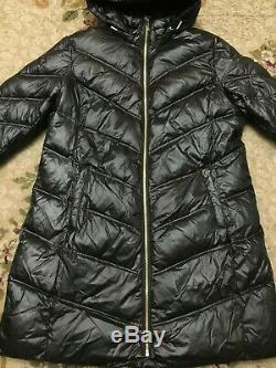 MICHAEL Kors Womens Quilted Puffer Down Long Jacket Black/Gold XL 144120 $240