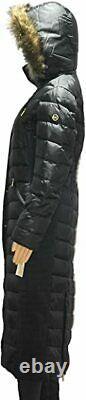 MICHAEL Kors women's Faux Fur Trim LONG Maxi Puffer Coat AUTHENTIC BLACK SMALL