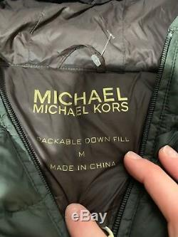 MICHAEL Michael Kors Women Quilted Long Hooded Jacket Puffer CoatPackable Sz M