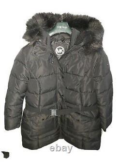 MICHAEL Michael Kors Women's Black Faux-fur Hooded Coat belted Jacket XXL