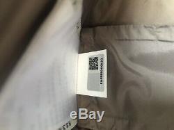 MONCLER Long Down Jacket Fur Coat Beige Brown Uk Size 6-8