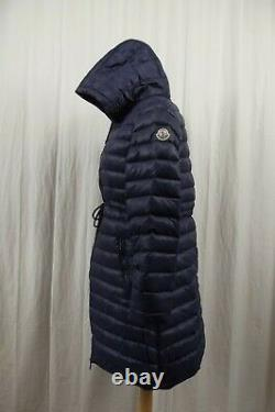 MONCLER Long Goose Down Puffer Jacket Womens Size L Large 3 Coat Blue Hooded
