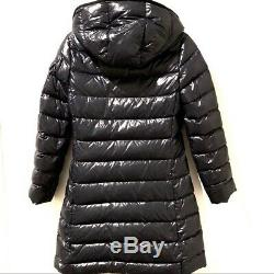 MONCLER Moka Laque Quilted Hood Long Navy Puffer Coat SOLD OUT 12Y/Women's XS