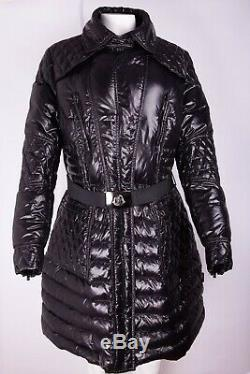 MONCLER Women Black Winter Down Quilted Coat Long Jacket with Belt size XXL