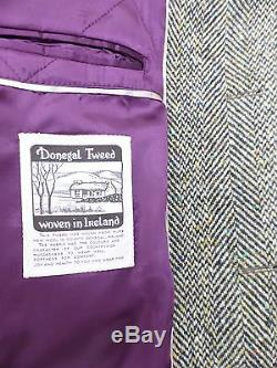 Magee Donegal Tweed Corrib Quilted Lining Overcoat 38 Chest