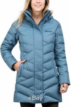 Marmot Women's Varma Jacket Long Down Faux Fur Hood Size S Storm Cloud NEW