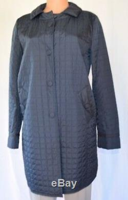 Maxmara Weekend Quilted Front Packet Removable Collar Long Sleeves Coat Size 8