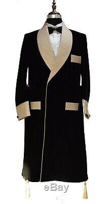 Men Black&Gold Smoking Jackets Quilted Designer Dinner Party Wear Long Coat