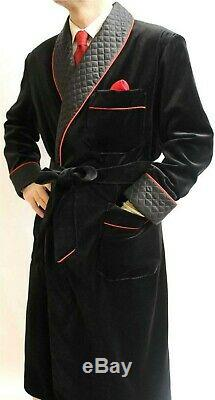 Men Black Smoking Jackets Designer Quilted Dinner Party Wear Long Coats