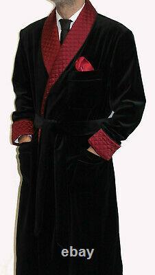 Men Black Smoking Long Dressing Gowns Quilted Lapels Luxury Designer Long Coats