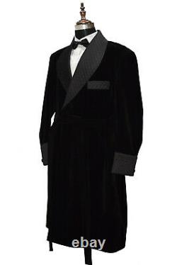Men Black Smoking Long Gown Quilted Lapel Velvet Belted Dinner Party Long Coats