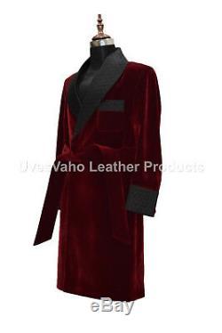 Men Elegant Designer Quilted Lapels Belted Smoking Long Dressing Coat Gowns UK
