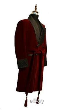 Men Maroon Quilted Smoking Long Coat Elegant Luxury Designer Party Wear Jackets
