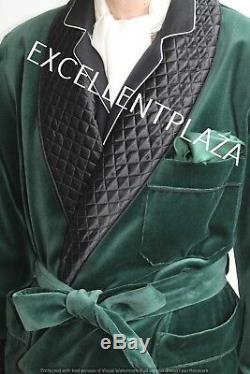 Men Smoking Jacket Long Green Velvet Quilted Hosting Evening Dinner Jacket Coat