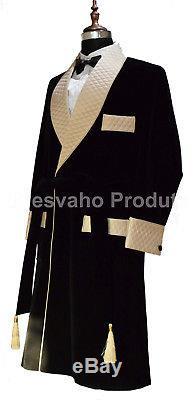 Men Smoking Long Coat Jacket Gown Elegant Luxury Designer Quilted Lapels Belted