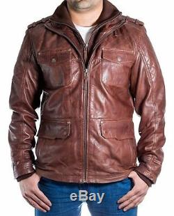 Men's Brown Leather Quilted Safari Double Collar Zipped Long Winter Coat /Jacket
