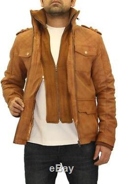 Men's Brown Tan Leather Quilted Safari Double Collar Zipped Long Coat /Jacket