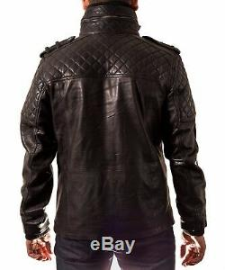 Mens Black Leather Quilted Safari Double Collar Zipped Long Winter Coat / Jacket