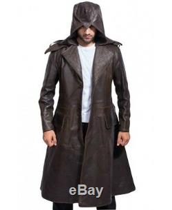 Mens Brown Trench Coat Assassins Creed Syndicate Long Leather Jacket All Sizes