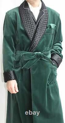 Mens Green Long Smoking Jacket Rove Velvet Quilted Coat Evening Dinner Gown UK