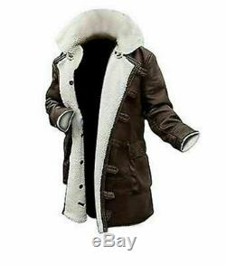 Mens Leather Jacket Tom Hardy Bane Long Coat Real SheepSkin Black With White Fur
