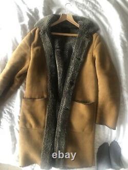 Mens Medium-Large Vintage Prada Suede Coat Jacket Brown Beige Fleece