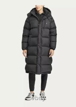 Mens Polo Ralph Lauren Ripstop Black Long Down Fill Jacket / Coat. Size Large