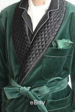 Mens Quilted Vintage Long Smoking Coat Green Velvet Blazer Evening Dinner Jacket
