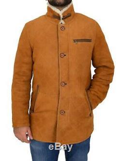 Mens Real Sheepskin Jacket Cognac Designer Shearling 3/4 Long Quilted Car Coat