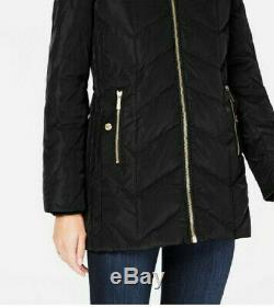 Michael Kors Hooded Down Black Puffer Coat Ladies With Faux-Fur Trim Size Small