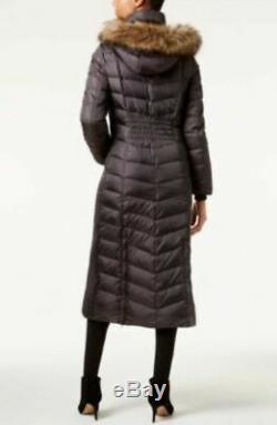 Michael Kors Long Puffer Hood Faux Fur Trim Down, Gunmetal Size S