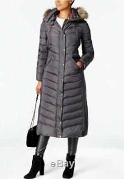 Michael Kors Long Puffer Hood Faux Fur Trim Down, Gunmetal Size XS