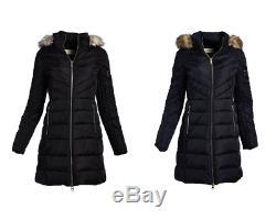 Michael Kors MK Women's Winter Coat Faux Fur Removable Collar Puffer Down Jacket