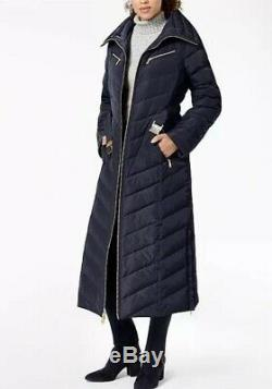 Michael Kors Maxi Long Coat Puffer Belted Hood Faux Fur Down Blue Navy S
