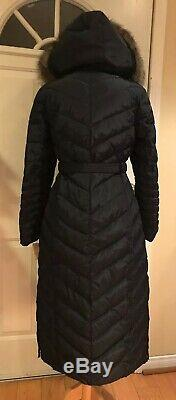 Michael Kors Maxi Long Coat Puffer Belted Hood Faux Fur Down Blue Navy S $400