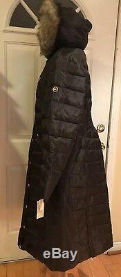 Michael Kors Maxi Long Coat Puffer Hood Faux Fur Down Brown Chocolate PXXL $400