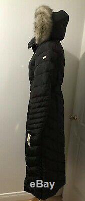 Michael Kors Maxi Long Puffer Coat Hood Faux Fur Trim Down Black XXS 2XS
