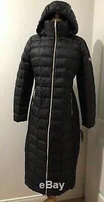 Michael Kors Maxi Long Puffer Coat Jacket Packable Down Hood Black M $400 NWT