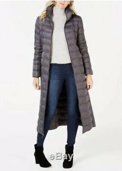 Michael Kors Maxi Long Puffer Coat Jacket Packable Down Hood Dark Grey S