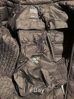 Michael Kors Maxi Long Puffer Coat Jacket Packable Down Hood Dark Grey S $400