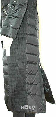 Michael Kors Women Faux Fur Trim Long Maxi Puffer Coat Authentic Gunmetal SMALL