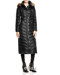 Michael Kors Women's Black Quilted Down Faux Fur Hooded Long Maxi Puffer Coat