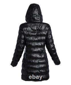Michael Kors Women's Down Puffer Hooded Long Coat MK Jacket Black Medium Winter
