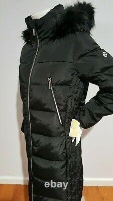 Michael Kors Women's Faux Fur Hood Trim Black Puffer Long Coat Size M