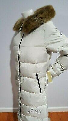 Michael Kors Women's Faux Fur Trim Hooded Puffer Beige Long Coat Size S