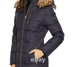 Michael Kors Women's MK Winter Outerwear fur hood parka down coat Jacket size L